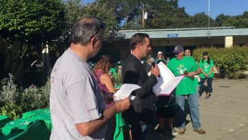 Supervisor Zach Friend at Comcast Cares Day, Mar Vista Elementary School, April 2016